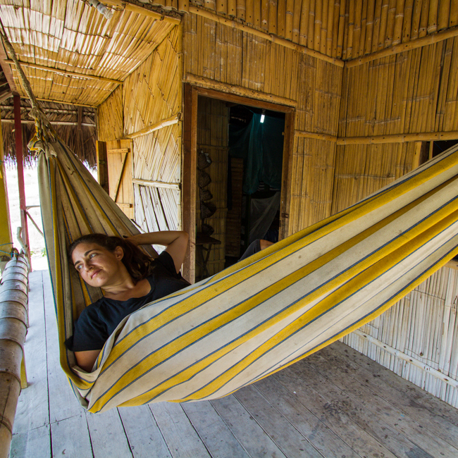 Relaxing at our bamboo hut at Rica Ruca in Ayangue